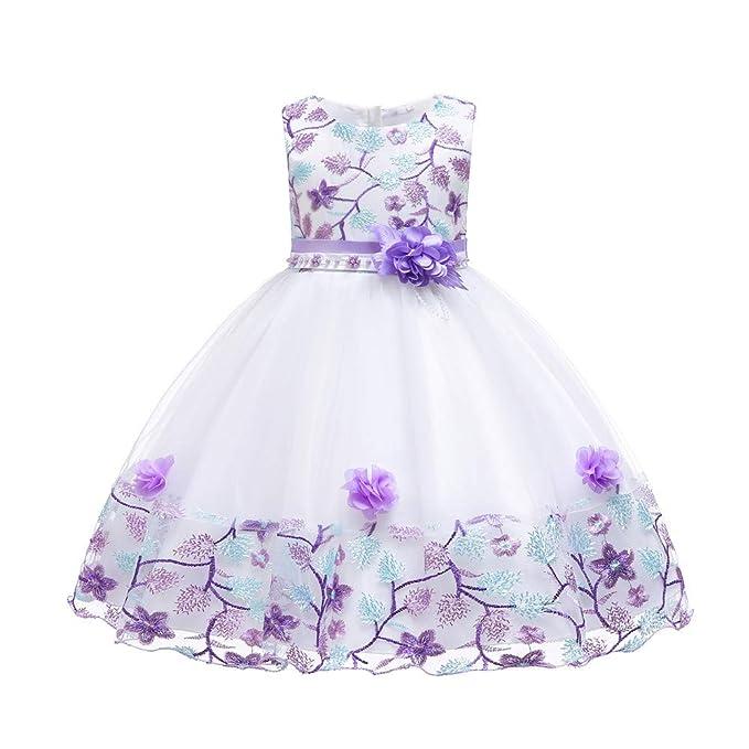 6f9f904ec331 Kumkey Bordado Cordón Vestidos Bowknot Niña De Las Flores Niños Princesa  Partido Dama De Honor De