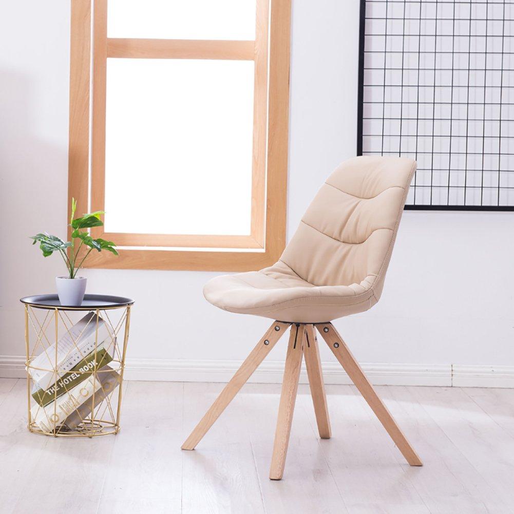 ZJM- Massiv Eiche Esszimmerstuhl Leder Lounge Stuhl Stuhl Stuhl Kreatives Restaurant Stuhl Rückenlehne Stuhl (Farbe   Beige, größe   Set of 4) B07F9PYVKX | Roman  f49b85