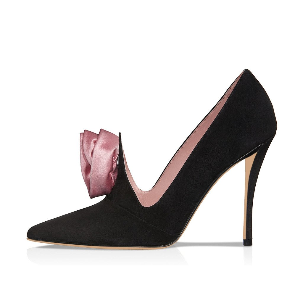 XYD Evening Elegant Dress Pumps Suede Pointed Toe High Heels Stilettos Rose Flower Shoes for Women