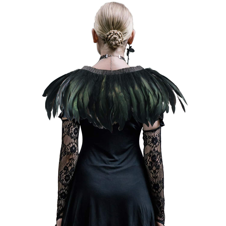 Naturel /épaule Wrap main couture coupe col ch/âle de paon pour sc/ène de f/ête robe de cocktail ANSUG Ch/âle de plume noir de mode