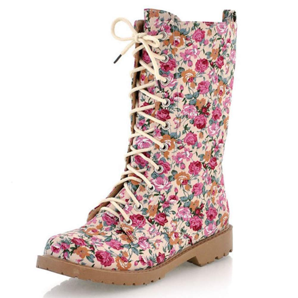 DoraTasia Womens Flower Lace-up Mid Calf Flat Heel Boots