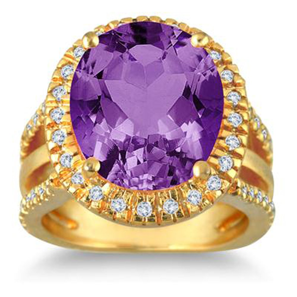Silvercz Jewels 7.5 Carat oval Amethyst & Simulated Diamond Ring In 14K Yellow Gold Plated