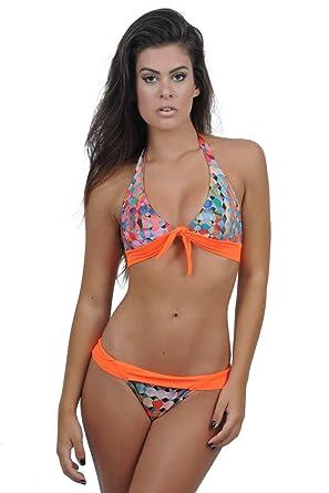 77dacd81ef2b6e Amazon.com: Ana 128 Women Swimwear Set of Two Floral Printed Flirty Cross  High Neck (Large): Clothing
