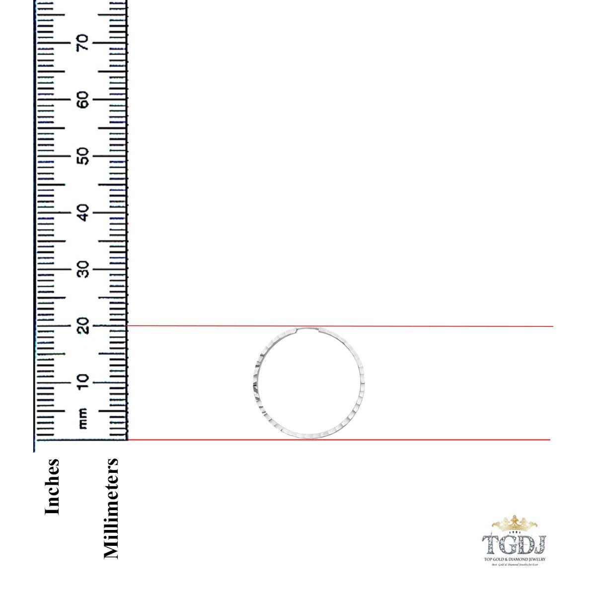 Diameter - 20 MM TGDJ 14K White Gold 1.5mm Square Tube Hoop Earrings
