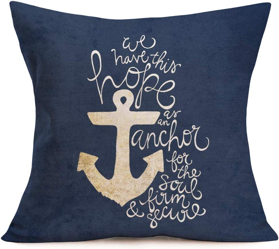 Aremetop Throw Pillow Covers Nautical Ocean Anchor with Inspirational Word Saying Cotton Linen Decorative Cushion Cover Square Pillow Case for Home Sofa Decor 18''x18'',Navy Blue (Navy Anchor Quotes)