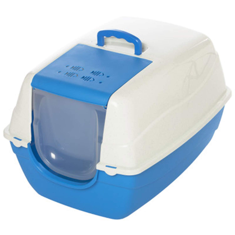 Closed Cat Toilet Large Cat Litter Box Splashproof, Deodorant, Cat Potty Fat Cat 70  57  46Cm,bluee