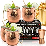jack and ginger - Moscow Mule Copper Mugs - Set of 4 - 100% HANDCRAFTED - Food Safe Pure Solid Copper Mugs - 16 oz Gift Set with BONUS: Highest Quality Cocktail Copper Straws and Jigger!