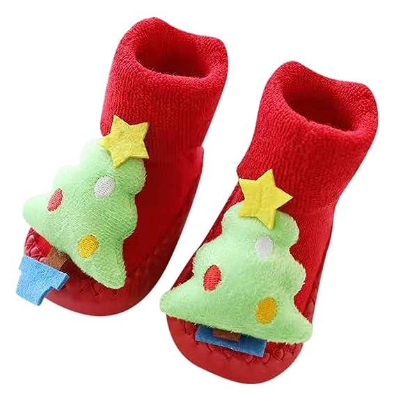 Fossen Disfraz Navidad Bebe Niña Niño Calcetines de Piso Antideslizante - Patrón de Papa Noel Arbol de Navidad Reno: Amazon.es: Ropa y accesorios