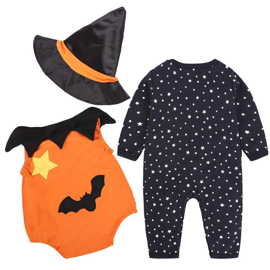 Baby Halloween Costume Sets,Jchen(TM) Infant Baby Boy Girl Pumpkin Romper Vest Hat Halloween Outfits Costume 3Pcs Sets for 0-24 Months (Age: 12-18 Months)