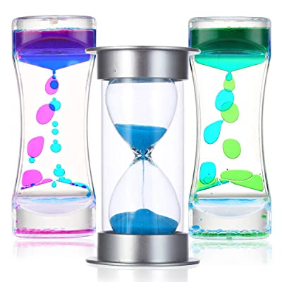 Liquid Motion and Sand Timers 3 Pcs Bundle, Fidget Sensory Toys, Calm Down and OT Tool Kit for Kids and Adults with Autism, ADD, and ADHD, Plastic and Glass Lava Lamp Bubble and Original Hourglass Set: Toys & Games