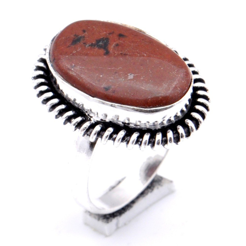 Ancient Handmade Jewelry Brown Mahagony Jasper Sterling Silver Overlay Ring Size 8 US
