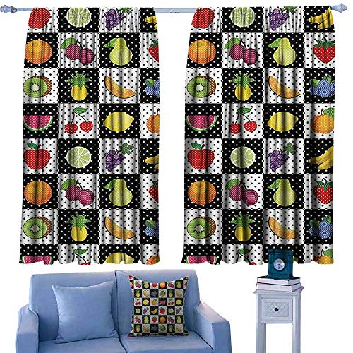 DONEECKL Windshield Curtain Black and White Decor Kitchen Fruits Vegetables Nature with Dots Chess Squares Art Design Thermal Insulated Tie Up Curtain W63 xL72 Multicolor