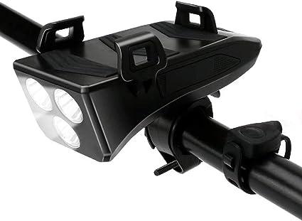 Rechargeable Bike Bicycle 4000mAh Power Bank Headlight Speaker 4in1 Phone Holder