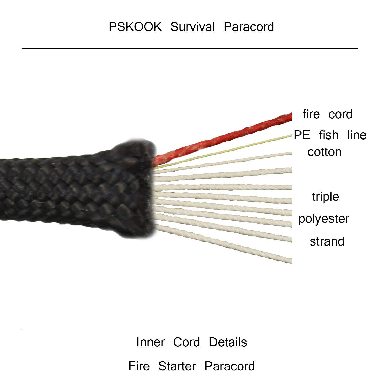 PSKOOK 550 Cordón para Paracaídas Lanyard de Paracord con Cordón de Yesca Lino Línea de Pesca de PE Hilo de Algodón Especificación Tipo III Paracord 100FT Negro