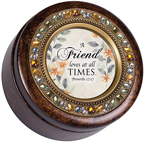 Cottage Garden A Friend Loves at All Times Amber Earth Tone Jewelry Music Box Plays How Great Thou Art