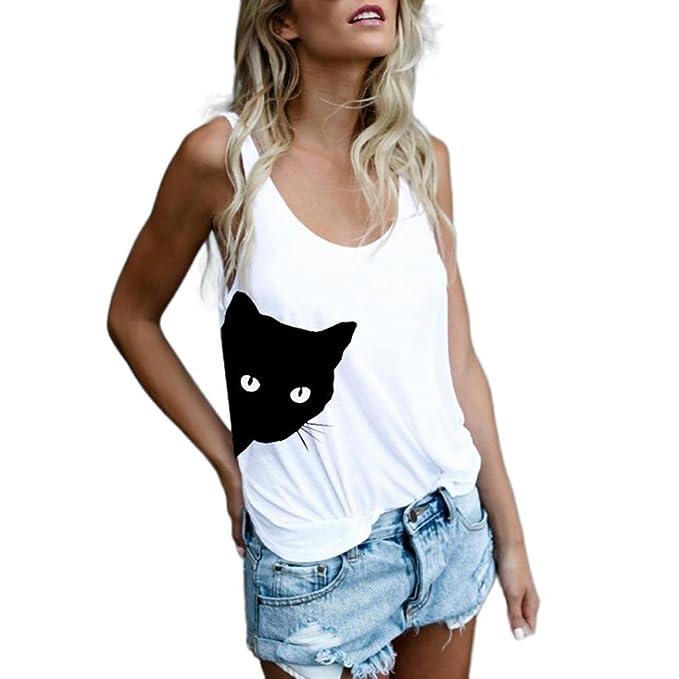 Moda Camiseta sin Mangas para Mujer Blusa Estampada de Gato Camiseta sin Mangas con Cuello en