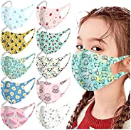 10Pcs Kids Washable Reusable Face_Masks Skincare Comfort Breathable Face Protection for Boys Girls Cute Printe