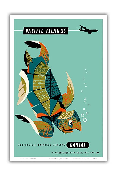 Pacific Islands - Qantas Airways - Green Sea Turtle - Vintage Hawaiian  Travel Poster by Harry Rogers c 1960s - Hawaiian Master Art Print - 12 x  18in