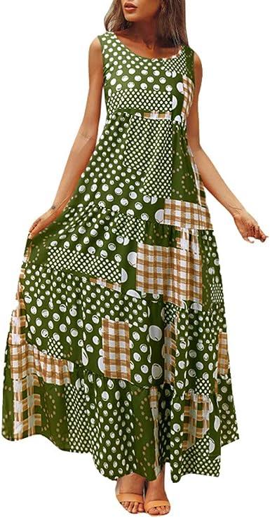 Sylar Vestidos Boho Chic Verano Vestido Bohemia Largo Vestidos Playa Mujer Tallas Grandes Sin Manga Vestidos Mujer Casual Suelto Cuello Redondo Vestidos De Fiesta Largos De Noche Estampado Lunares Amazon Es Ropa Y
