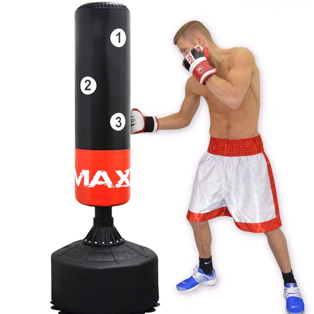 5.5ft Boxing Free Standing Punch Bag Stand MMA Martial Arts Punching Gloves Sets