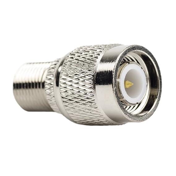 (Pack de 2) Adaptador coaxial RF - Conector TNC macho a conector F hembra - TV Jack hembra para antenas, dispositivos LAN inalámbricos, cable coaxial, ...
