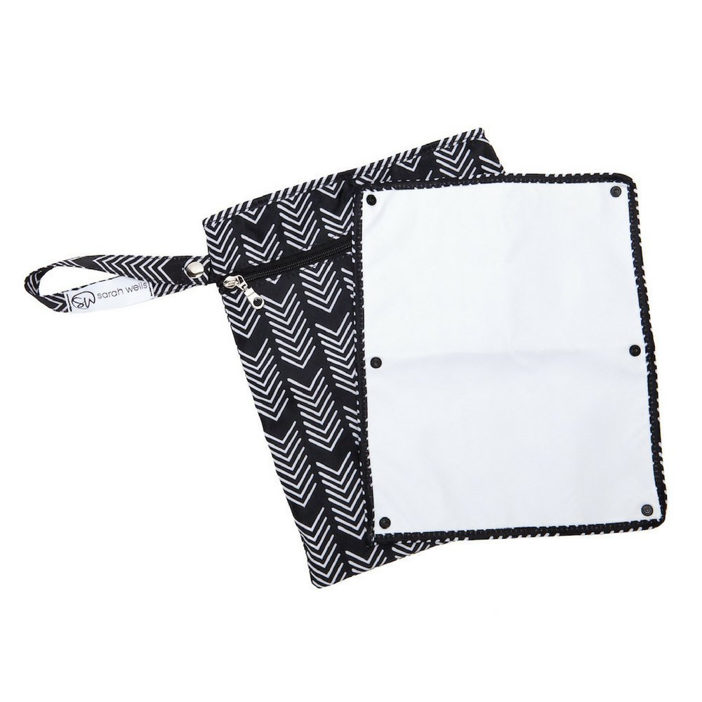 """Sarah Wells""""Pumparoo"""" for Breast Pump Parts, Wet Dry Bag with Staging Mat (Black & White)"""