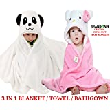 Brandonn Premium Super Soft Baby Blanket for Babies Pack (White/Pink-White, Pack of 2)