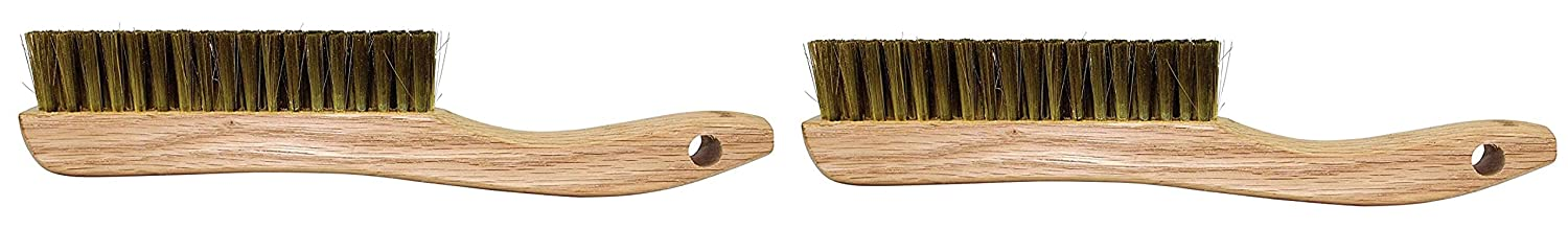 Forney 70518 Wire Scratch Brush Brass with Curved Wood Handle 13-3//4-Inch-by-.012-Inch