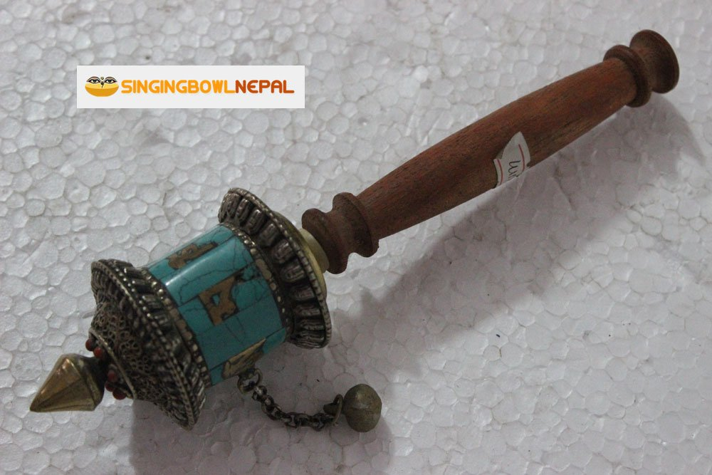 Buddhist Coper & Stone Set Hand-held Prayer Wheel - 8.5 Inch with Authentic Wooden Handle by Singing Bowl Nepal (Image #3)