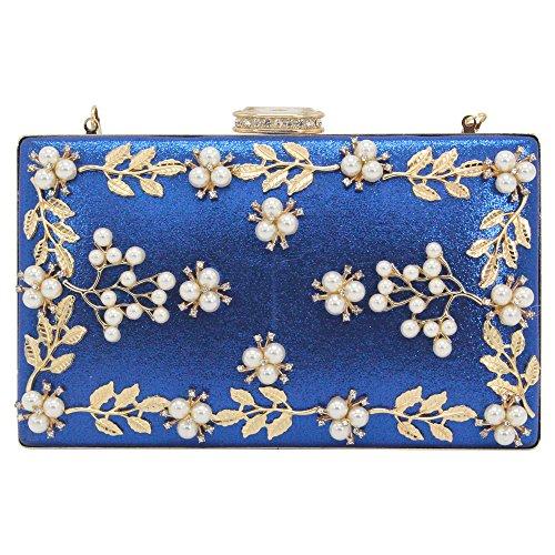 Wocharm Womens Clutch Purse Ladies Satin Material Floral Design Shoulder Handbag Royal Blue