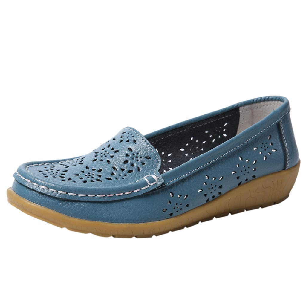 ✔ Hypothesis_X ☎ Women's Classic Penny Loafers Driving Moccasins Casual Slip On Boat Shoes Fashion Comfort Flats Blue