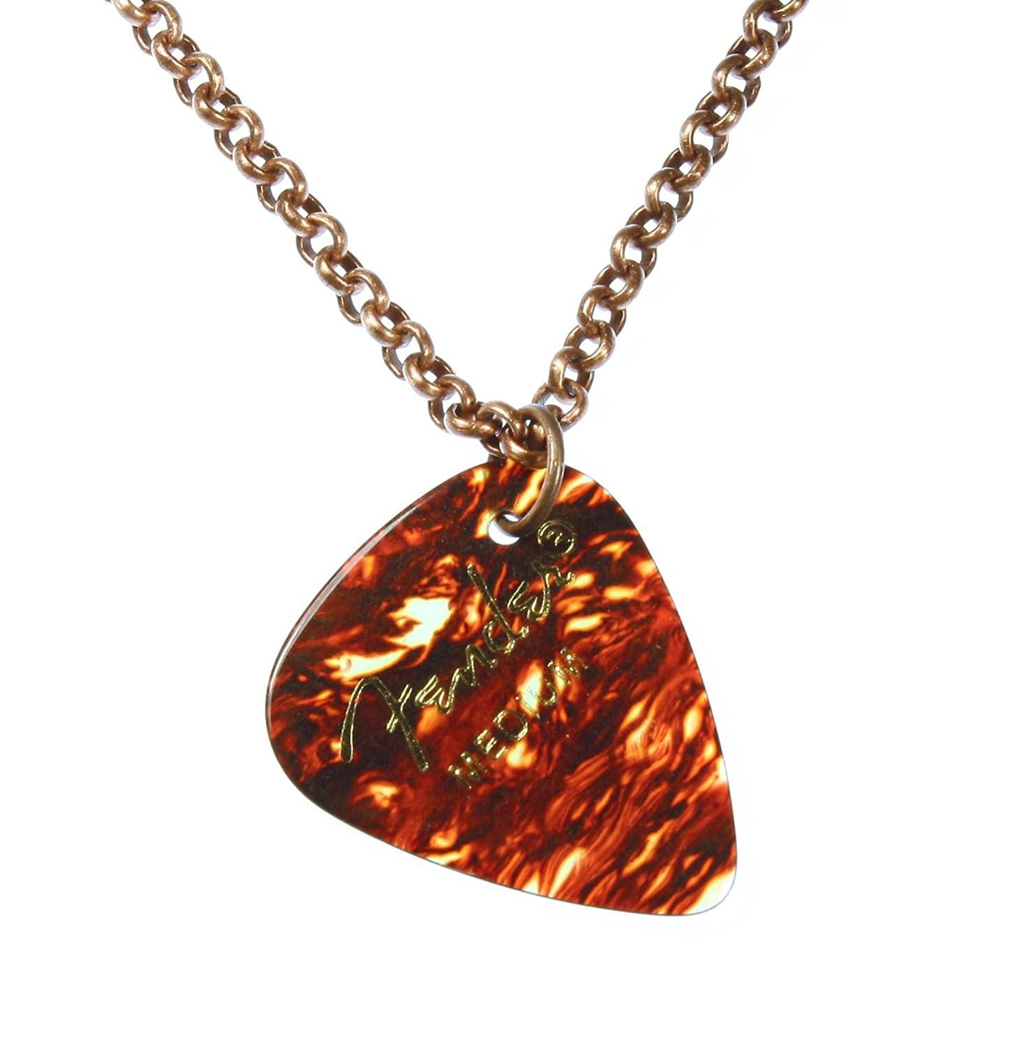 """""""Guitar Player"""" Genuine Fender Guitar Pick Necklace on Solid Copper Chain; 22 Inches"""