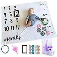 Baby Monthly Milestone Photo Blanket Newborn Infant Growth Chart for New Parents Baby Gifts,Baby Welcome Box with…