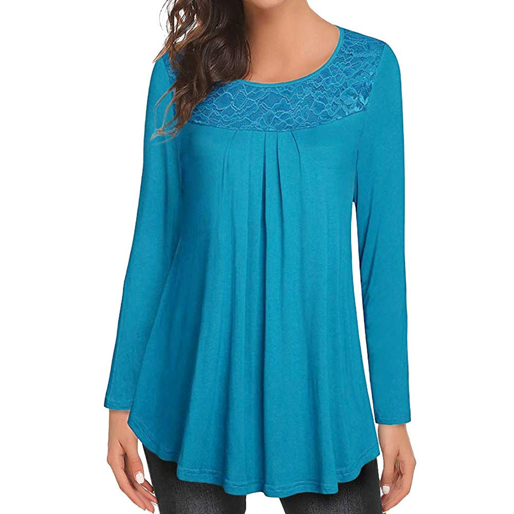 Clearance! Women Tunic Tops - vermers Womens Casual Solid Lace Patchwork Ruched O-Neck Long Sleeve T-Shirt Blouse(L, Blue)