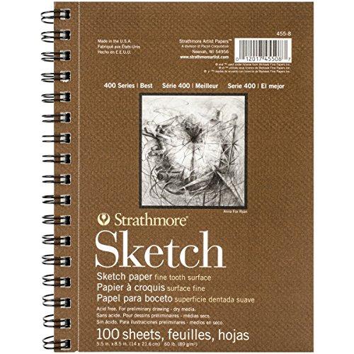 "Strathmore 455-8 Strath Sketch S 400 5.5X8.5100SHT60LB, 5.5""8.5"", White 100 Sheets"