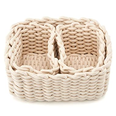 EZOWare Set of 3 Decorative Woven Cotton Rope Baskets and Storage Organizer, Perfect for Storing Small Household Items - White