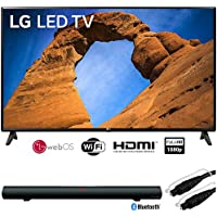 LG 49LK5700PUA 49-Class HDR Smart LED Full HD 1080p TV (2018) + Sharper Image 37 Sound Bar Bluetooth Speaker with Optical Input + 6ft Optical Toslink 5.0mm OD Audio Cable