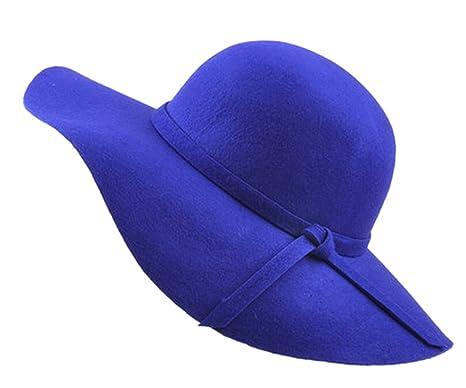 Urban GoCo Mujer Vintage Sombrero Lana Gorra Borde Amplio Bowler Cloche  Bombín Invierno (Azul Real 731c119961e