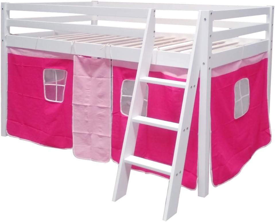 WarmieHomy - Cama de cabina para niños con escalera y tienda de campaña rosa de madera de pino para dormitorio: Amazon.es: Belleza
