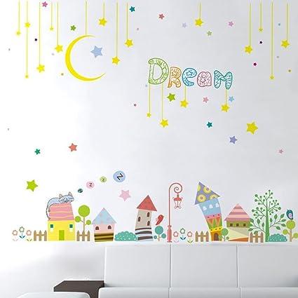 Amazoncom Mkxiaowei Habitacion Infantil Bonito Pegatinas Pegatinas - Dibujos-pared-infantil