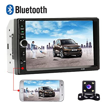 """Camera 7/"""" 2 DIN Bluetooth Car Stereo Radio Touch Screen MP5 Player FM SD USB"""