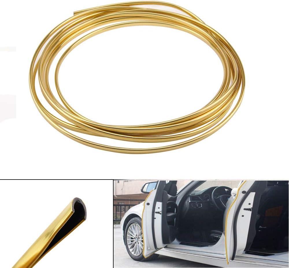 Gold shunyang Car Door Protectors Edge Guards Car Edge Trim Rubber Seal Protector Car Protection Door Edge Guard Trim Rubber Seal Protector Fits for Most Car 3M