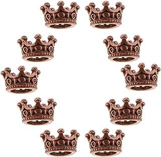 FITYLE 10 Pezzi Corona Fascino Metallo per Gioielli Braccialetto Grande Foro Fai da Te Fai da Te Distanziatore Perline Charms Lega Perline 0.23 X 0.43 Pollic