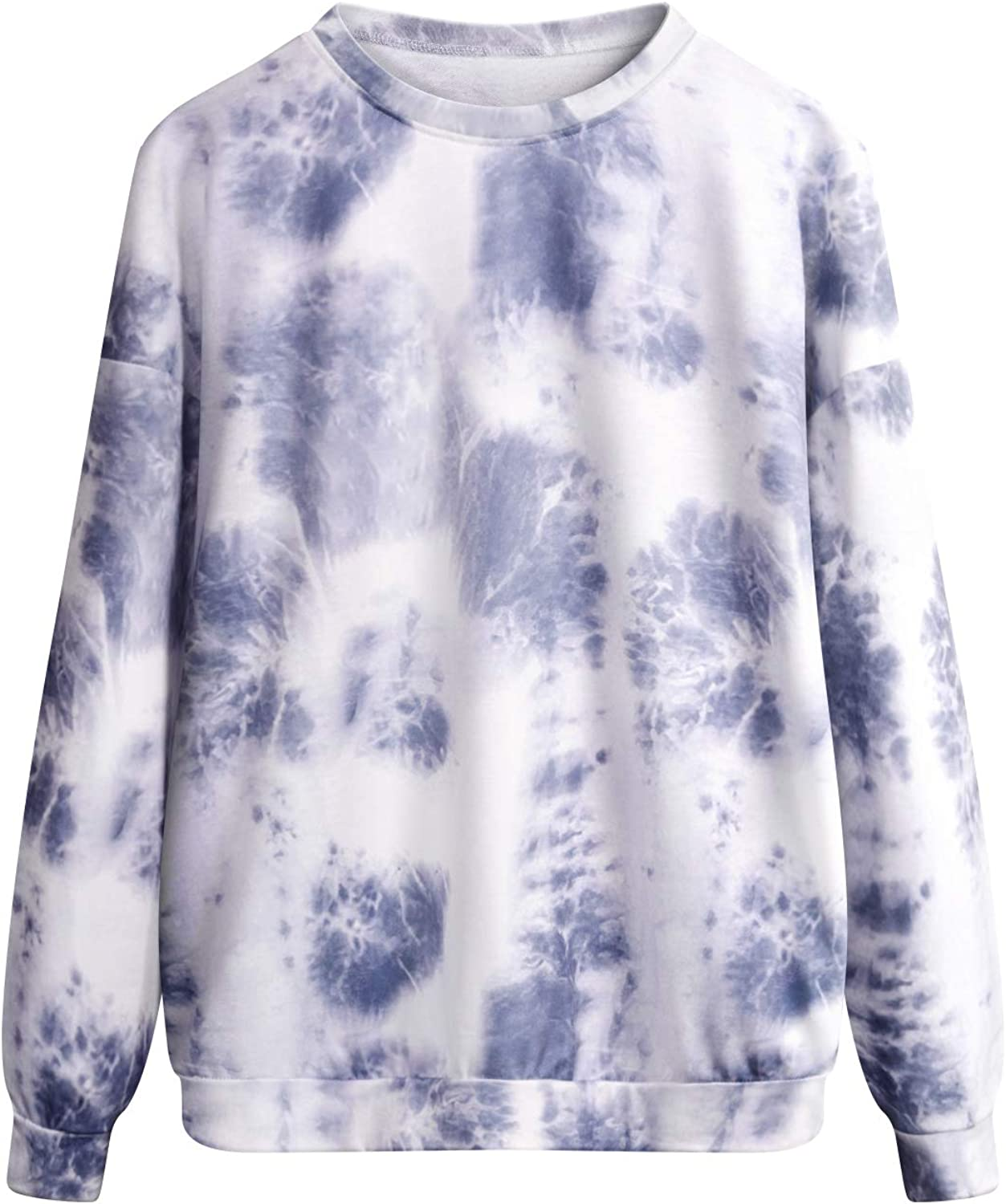 Koscacy Women's Tie Dye Sweatshirts Oversized Long Sleeve Crewneck Shirts Casual Pullover Tops with Pockets