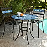 Ocean Waves Blue Mosaic Wrought Iron Small Space Patio Dining Set Bistro Set