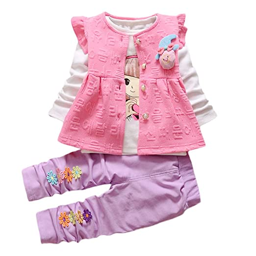 Amazon.com: AMSKY Baby Kids Girls Outfits Set Long Sleeve Flower Vest Warm Waistcoat +Shirt+Pants Winter Clothes 3PCS Set: Clothing