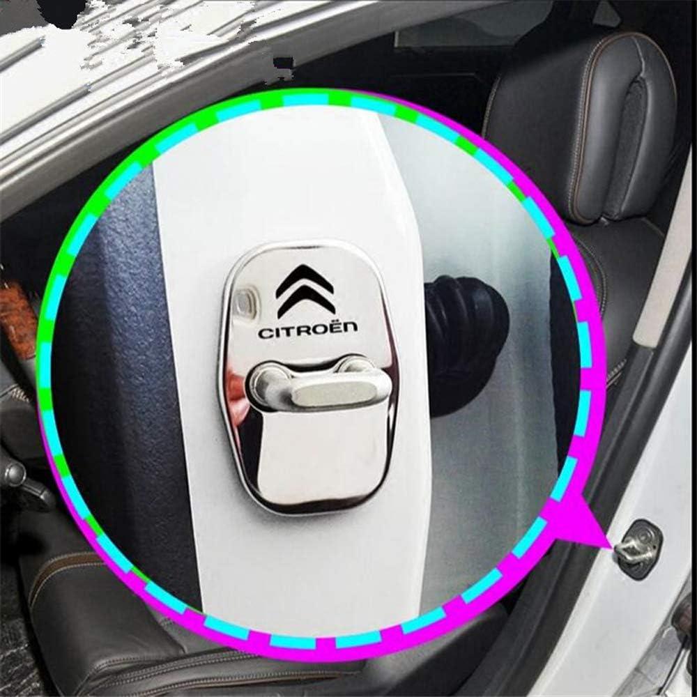 Set Verrouillage Automatique des Portes de Voitures en Acier Inoxydable Housse de Protection pour Citroen C4 C5 C6 C3XR,Argent LAUTO 4pcs