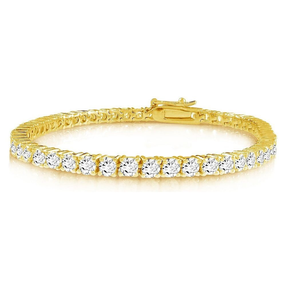 Gold or Silver Plated Round 2mm Cubic Zirconia Tennis Bracelet Kezef Creations Inc. BTRD02-6WCZ-BGP