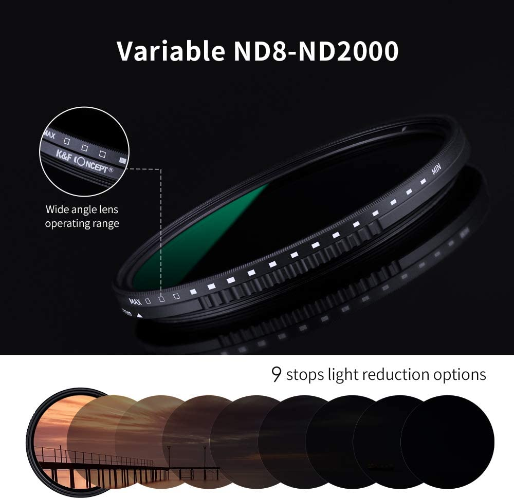 Waterproof K/&F Concept 52mm Variable Neutral Density ND8-ND2000 ND Filter for Camera Lenses with Multi-Resistant Coating
