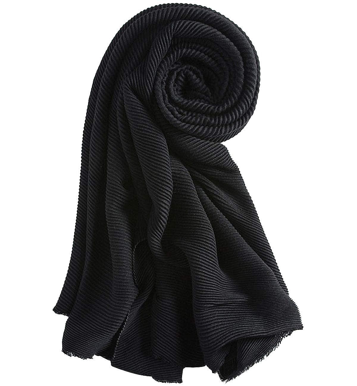 Superora Bufanda para Mujer Invierno Chal Manta Mantón Fular Grande Enorme Estilo Arrugada Color Puro Cachemira 250 * 60cm